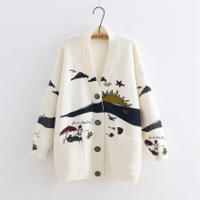 Yoyikamomo Jacquard Cardigan Sweater V-Neck Knitting Japanese Spring Woman New Girl Mori