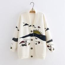 Yoyikamomo 봄 여성 스웨터 뜨개질 2019 새로운 일본 모리 소녀 v 목 자카드 카디건 스웨터 겨울
