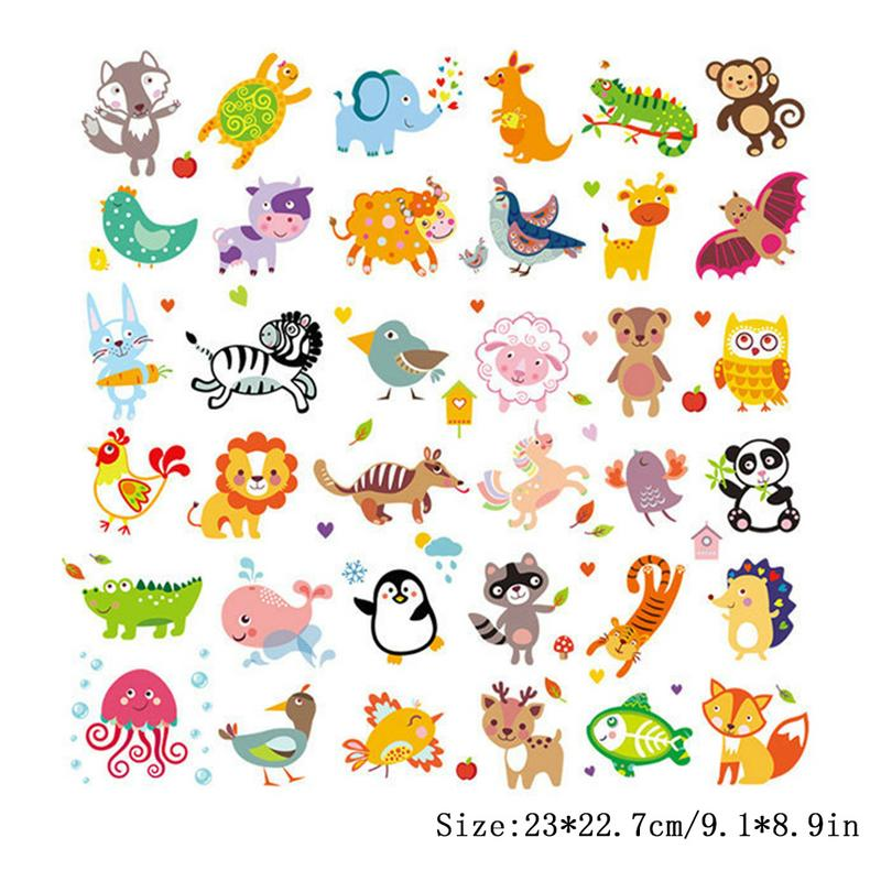 Cute Cartoon Jungle Animals Heat Transfer Printing Pattern Colorful Pyrography Stickers Iron On Patch On Baby Kids Clothing