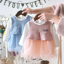 OKLADY Baby Girl Clothes Winter Casual Dress Floral Cotton Mesh Lace Dresses Spring Autumn Toddler Fashion Set 3 Year