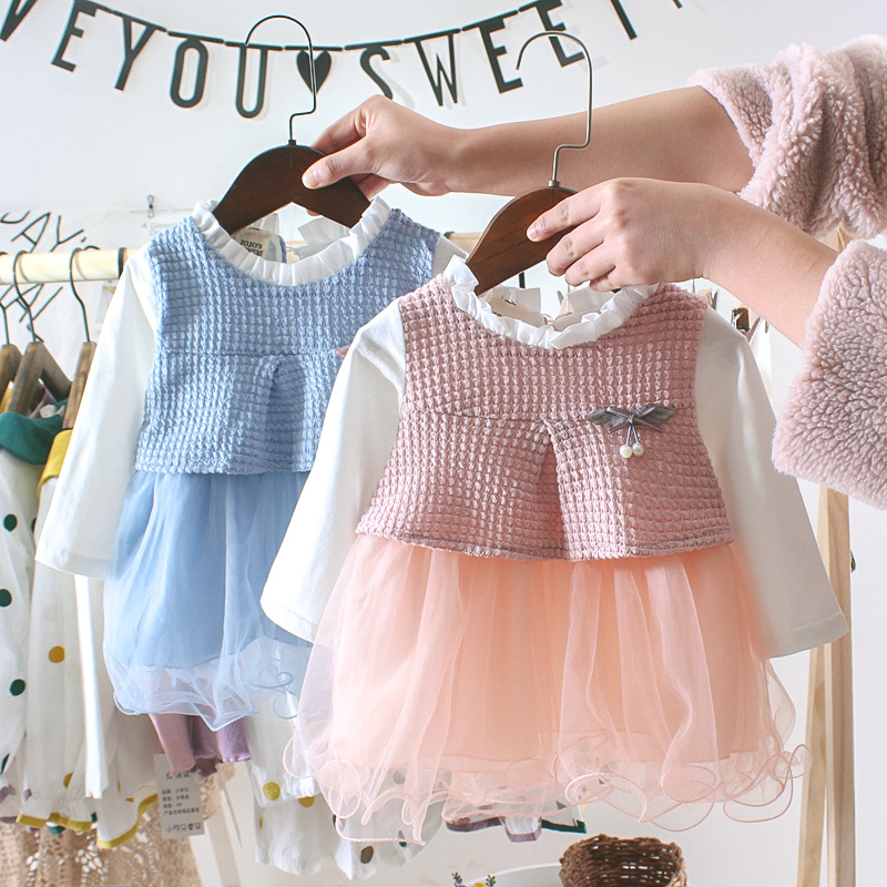 OKLADY <font><b>Baby</b></font> <font><b>Girl</b></font> Clothes Winter Casual <font><b>Dress</b></font> Floral Cotton Mesh Lace <font><b>Dresses</b></font> Spring Autumn Toddler <font><b>Girl</b></font> Fashion <font><b>Dress</b></font> Set <font><b>3</b></font> <font><b>Year</b></font> image