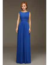 Cheap Formal Long Blue Sleeveless Chiffon Beach Bridesmaids Dresses On Sale Formal Full Length Maid of Honor Dress On Sale