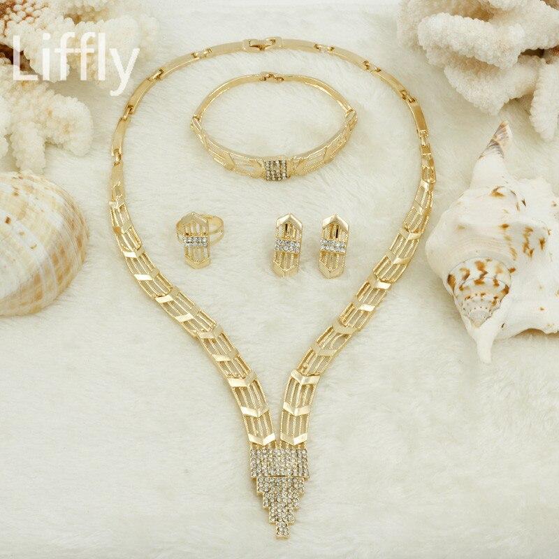 2018 India Jewelry Dubai Gold Jewelry Women Fashion: 2018 Dubai Women Jewelry Sets Fashion Pendant Crystal