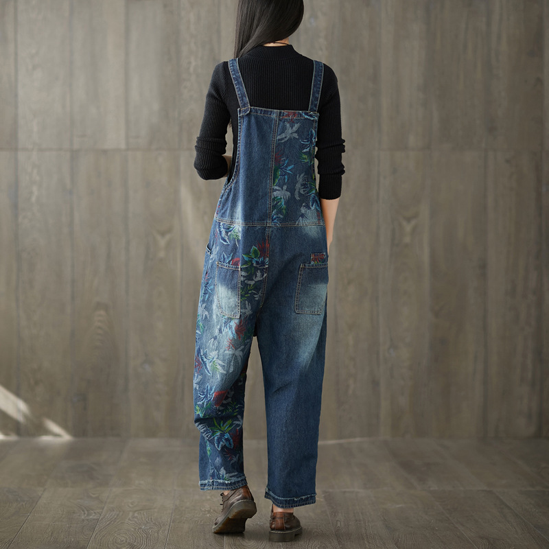 Big Jumpsuits Splicing Jeans legged Do Old Adjustable 2018 New Washing Overalls Wide Printing Rompers Yards HTwxT7qg