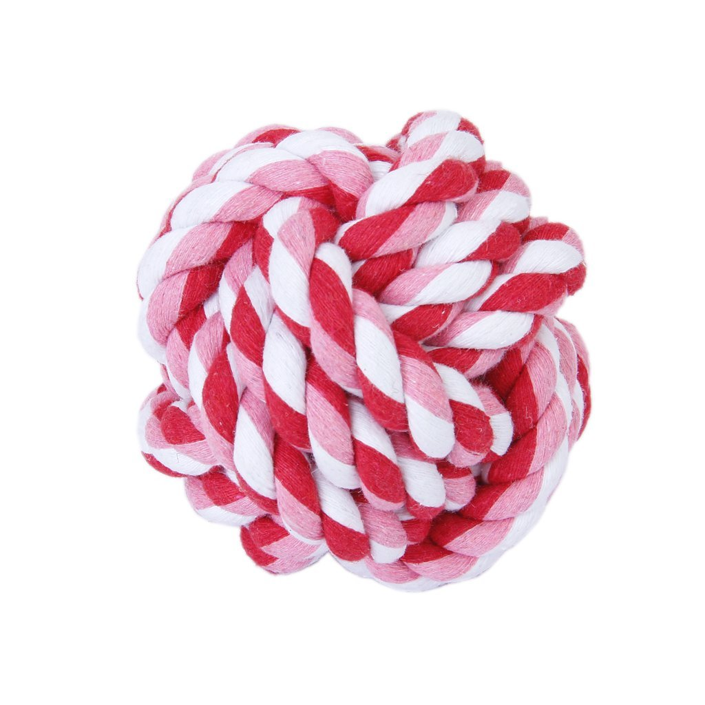 Hot Pet Dog Braided Cotton Rope Knot Chew Toys Games Teeth Clean Balls Diameter 9 cm