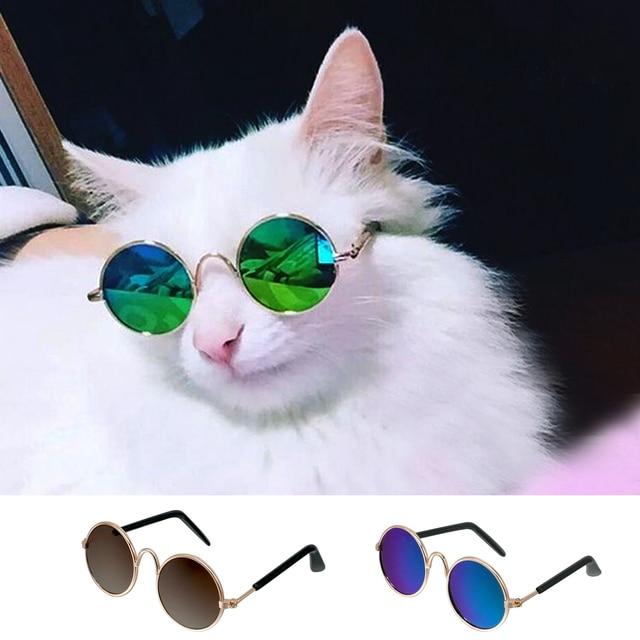 0026da070d0f05 € 1.79  Mode Chat Lunettes de soleil pour Animaux Accessoires D été Chiens  Chats Lunettes Toilettage Eye porter du Noir Vert dans Toilette pour ...