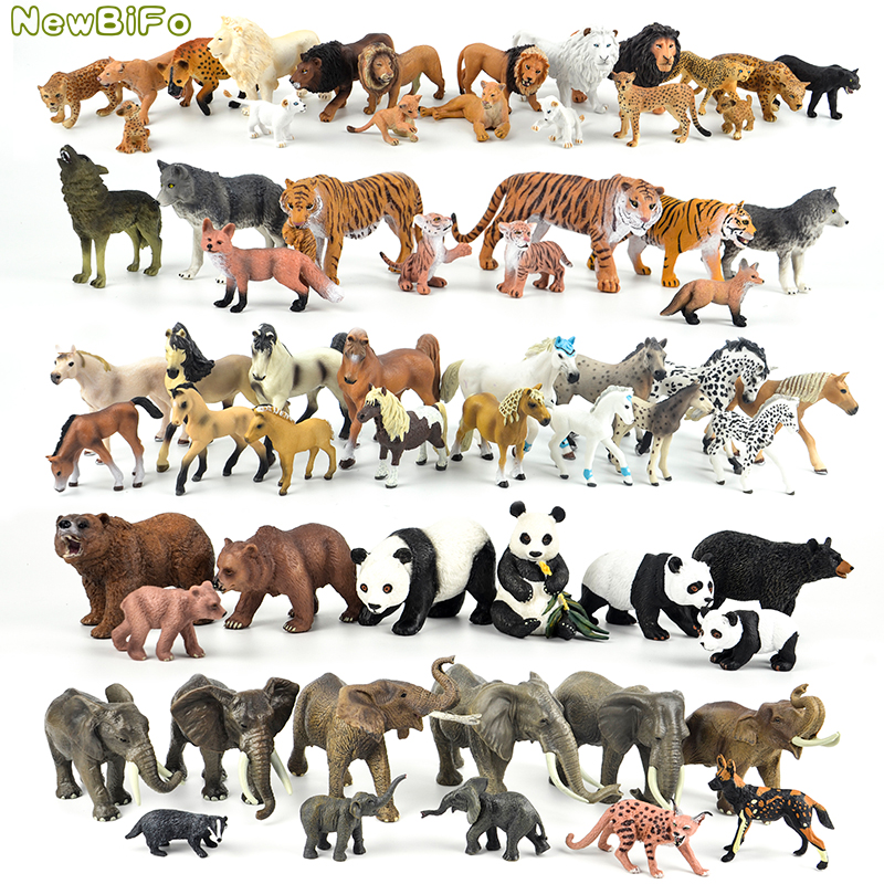 Total 254pcs Original Wild Zoo Farm African Savanna Lion Jungle Animals King Series Horses Collection Model Toys Children Gift