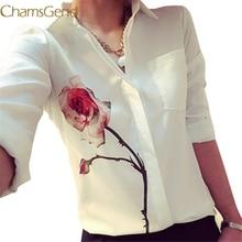 Chamsgend Newly Design Women s White Full Sleeve Rose Flower Printed Blouse Turn Down Collar Chiffon