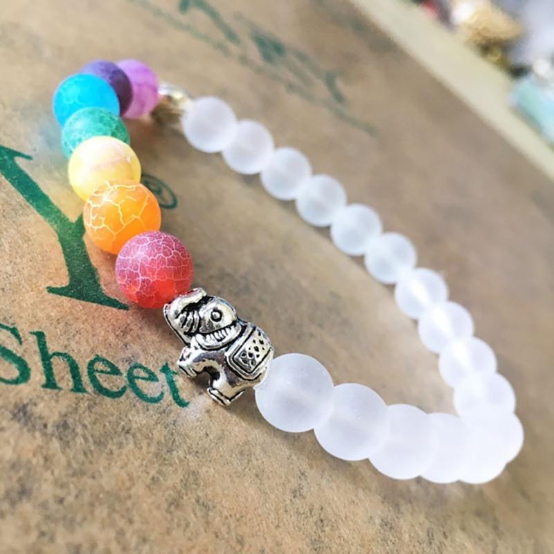 Elephant Energy Colorful Bead Bracelet Vintage Boho Colorful Bracelets Unisex Natural Stone Life Tree Bead Bracelet bead
