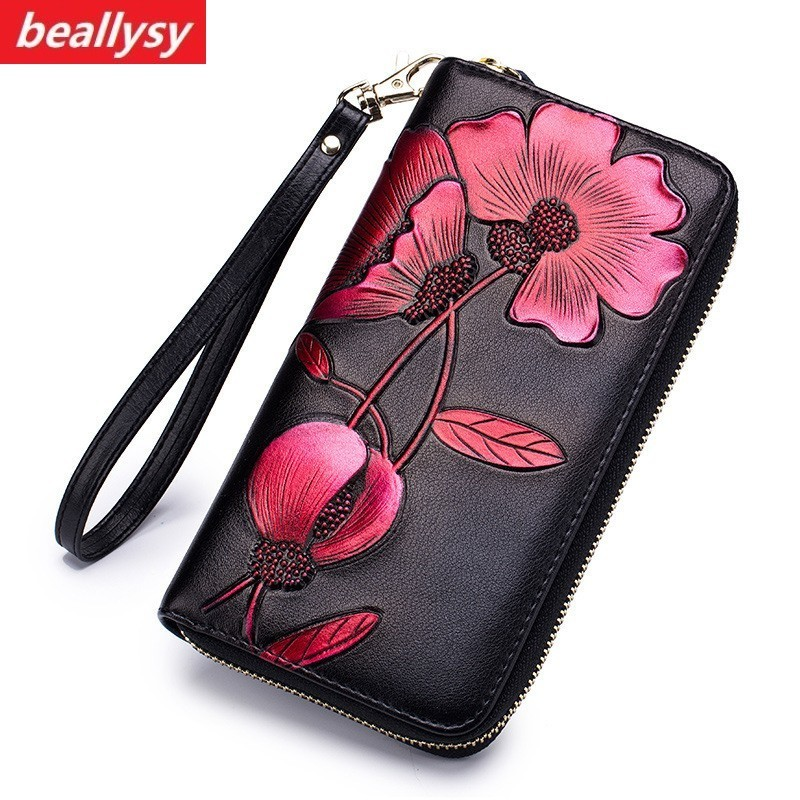 Fashion Flower Genuine Leather Women Wallet Female Long Walet Women Lady Clutch Money Bag Coin Purse Phone Pocket Portomonee
