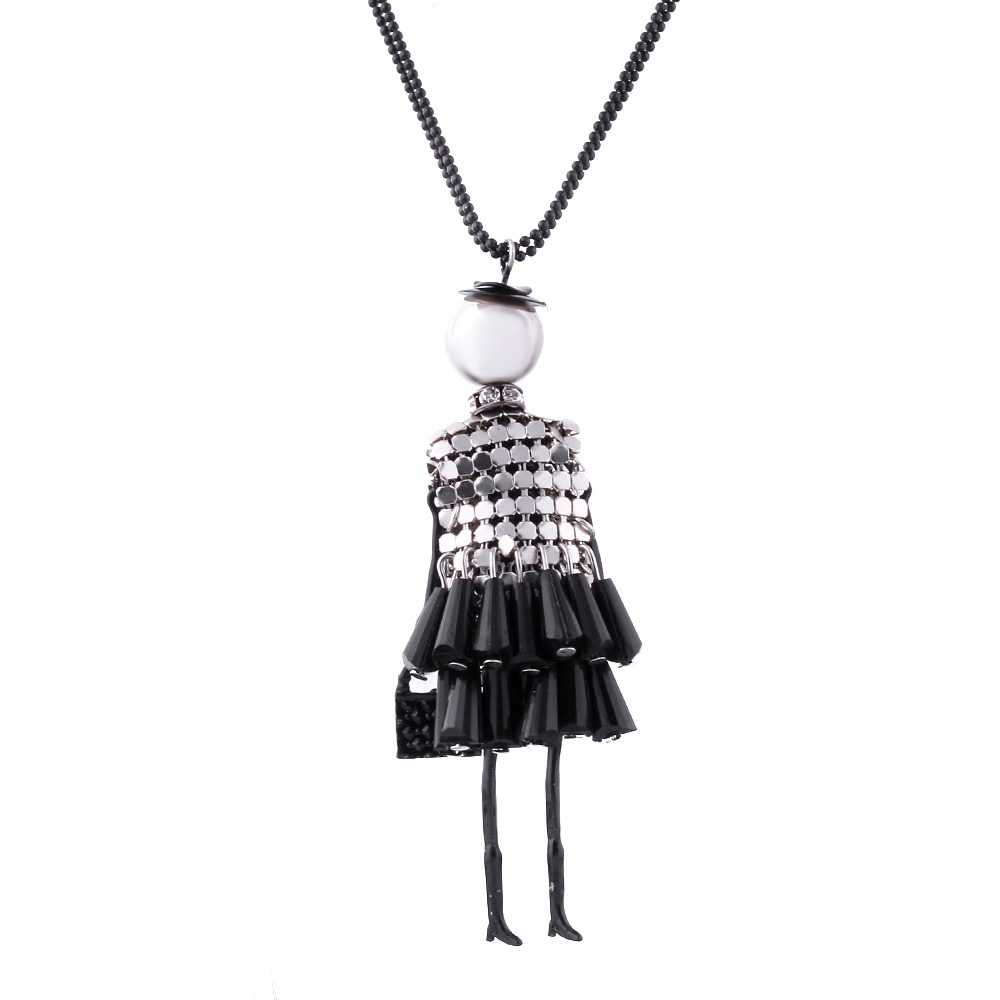 5 colors fashion lady doll beads charms body choker long necklace pendant statement necklace. Black Bedroom Furniture Sets. Home Design Ideas