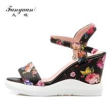 Fanyuan/Для женщин Босоножки на танкетке элегантные печатные обувь женские босоножки комфорт клинья обувь Босоножки на платформе Летние zapatos mujer