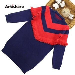 Image 1 - שמלת בנות מסיבת סתיו סוודר שמלת בנות פסים ילדים שמלת חורף בנות בגדים סרוגים 6 8 10 12 13 14 שנה
