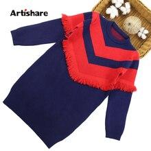 ドレスのため秋パーティーセータードレス女の子ストライプ子供ドレス冬の女の子ニット服 6 8 10 12 13 14 年