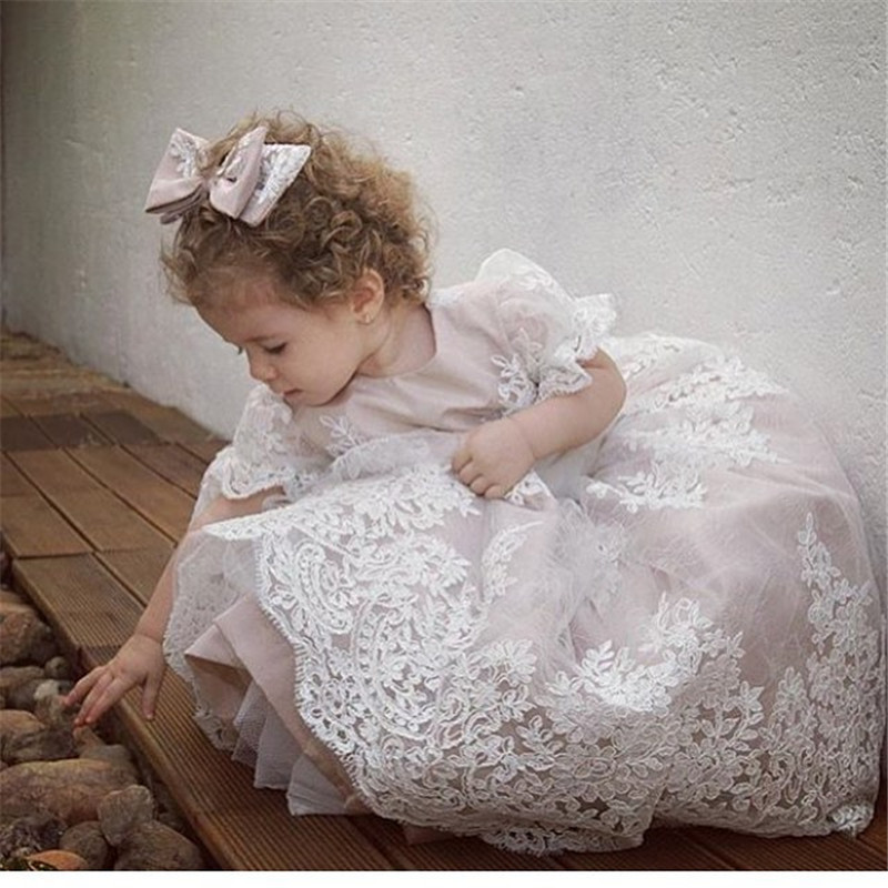 2017 New Flower Girl Dresses Ball Gown White Ivory Tulle Lace Short Sleeve Girls Pageant Dress Fascinating Vestido De Daminha