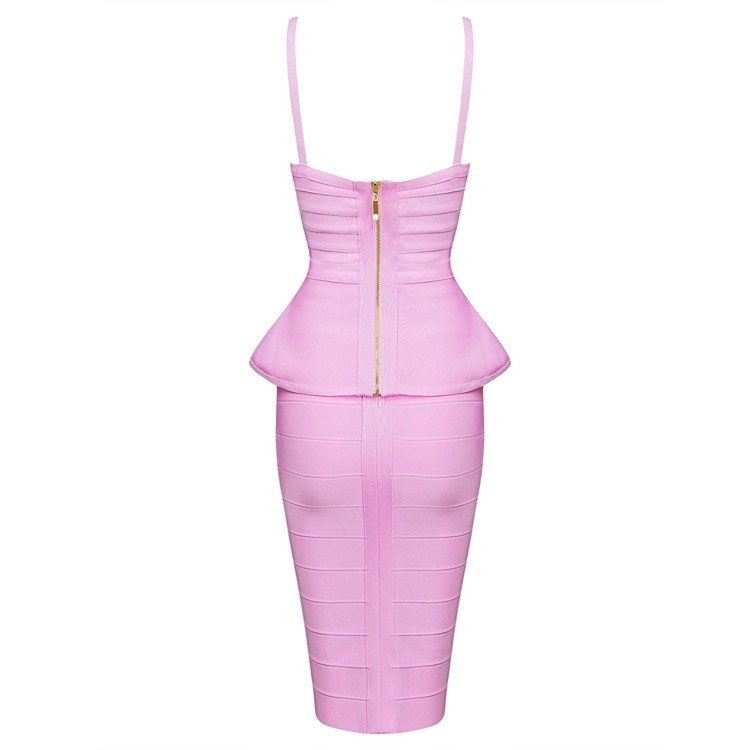 44ba00925bb63 US $31.5 10% OFF|2018 new women dress two piece bandage dress spaghetti  strap sexy busty rayon ruffles night club party dresses HL446-in Dresses  from ...