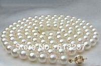 Hot Free Shipping New 2014 Fashion Style Diy 8 9mm South Sea White Pearl Necklace 35