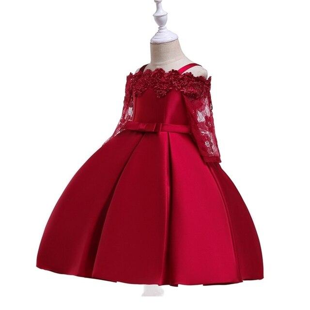 2019 Spring Teenage Long Sleeve Christmas Dress Party Prom Wedding Dress Kids Dresses For Girls Costume Clothes Princess Dress