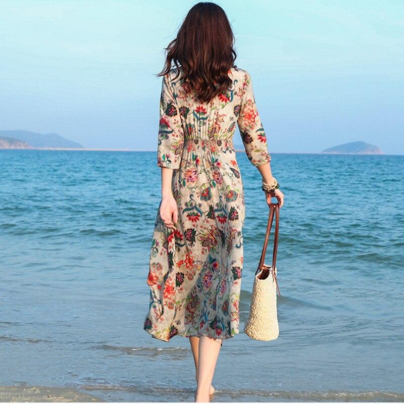 Tcyeek Seide Lange Sommer Kleid Frauen Drucken Floral Kleider Elegante Strand Party Kleid V Neck Kleider Vestidos Verano 2019 LWL1544 - 4