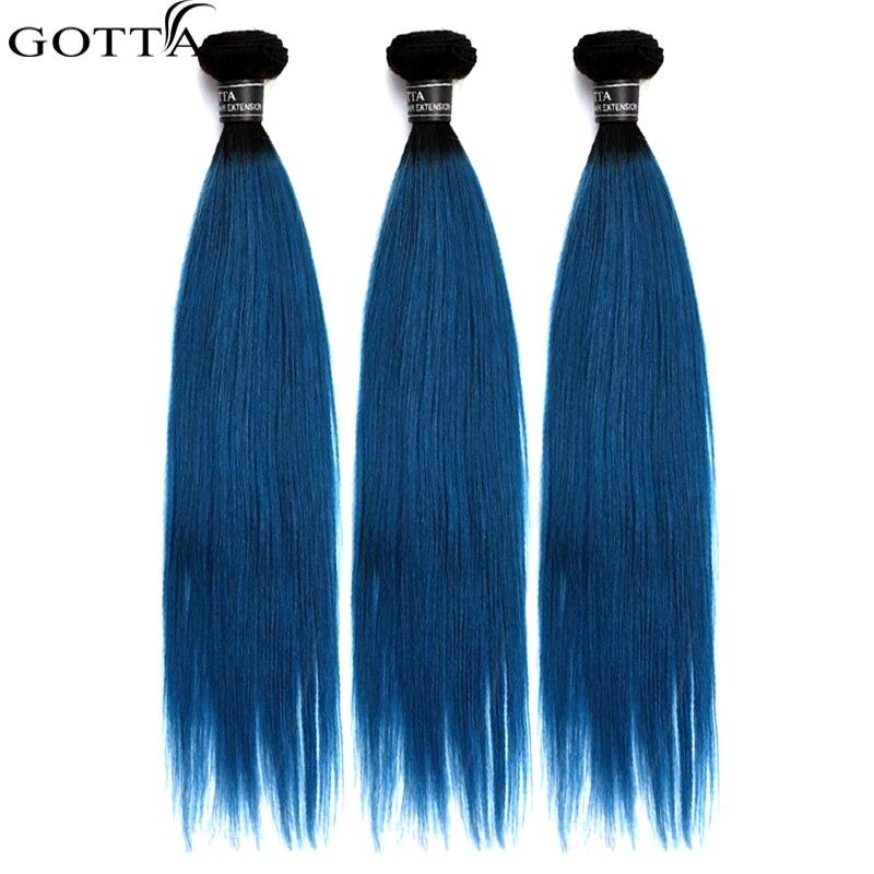 GOTTA 7A Grade Silk Straight Long Blue Colour Remy 100% Remy Human Hair Three Bundles High Quality Longer Brazilian Straight
