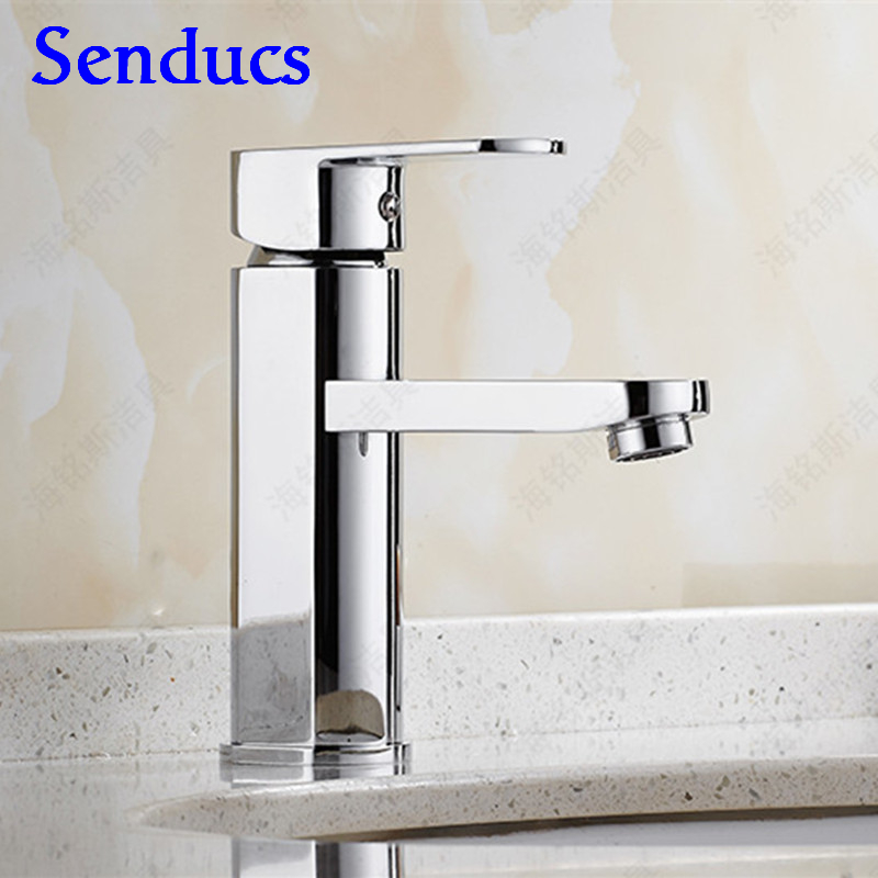 Free shipping Senducs chrome basin faucet with single handle solid brass bathroom basin sink water faucet by hot cold water tap free shipping luxury water tap swival brass chrome kitchen faucet tap single hole cold and hot bathroom kitchen sink faucet