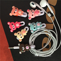 30pcs/lot Cartoon 2 in 1 USB Cable Earphone Protector headphones line saver and cable winder cord holder data cable protection