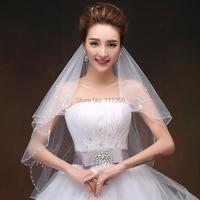 White Bridal Accessories Veil short 2 Layer Wedding Dress Veils Beaded Pearl Ivory Velo