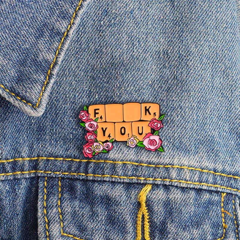 Garland Banner Fxxk Anda Inspirasi Bros Wanita Kuat Floral Enamel Denim Ransel Lencana Feminis Perhiasan