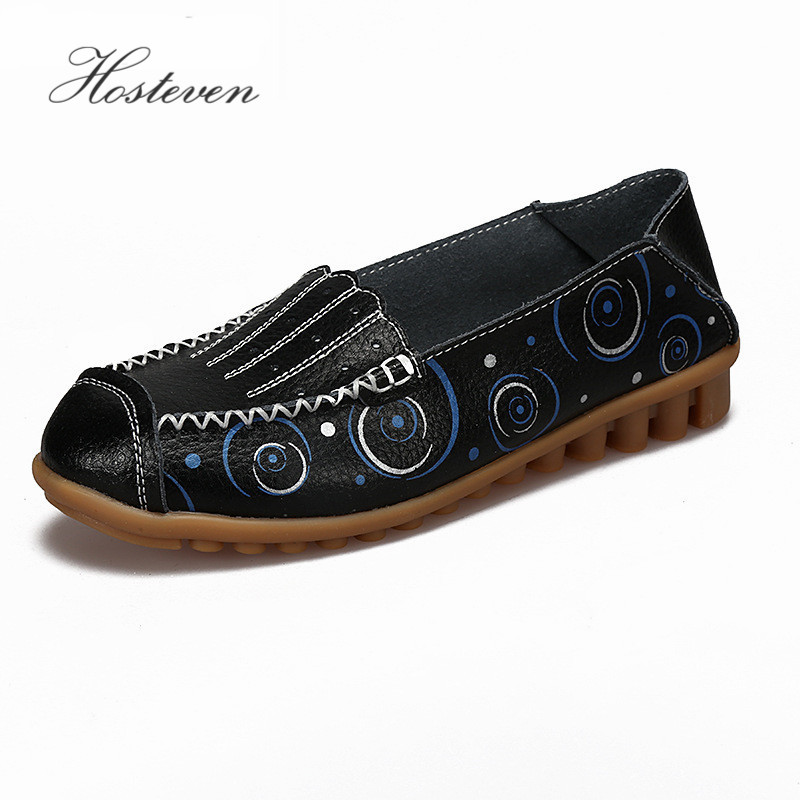Hosteven Women Shoes Flats Mother Moccasins Shoes Girls Fashion Casual Shoes Genuine Leather Loafers Shoe women s shoes hosteven pu leather loafers comfortable shoes women flats moccasins solid ladies casual shoe ballet footwear