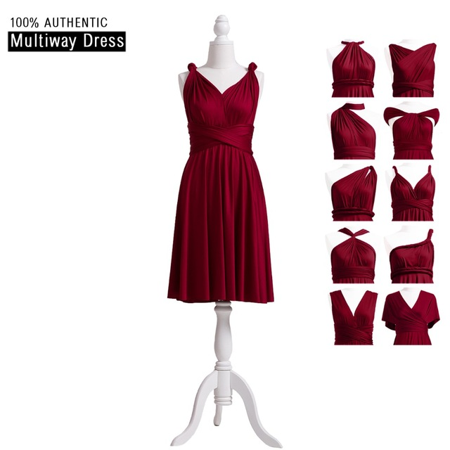 Burgundy Bridesmaid Dress Short Infinity Dress Wine Multi Way Dress  Convertible Wrap Dress With Straps Off The Shoulder Styles 64e23ce27c1b