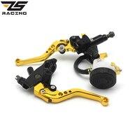 ZS Racing Universal CNC 7 8 22mm Gold Motorcycle Brake Clutch Levers Master Cylinder Reservoir Set