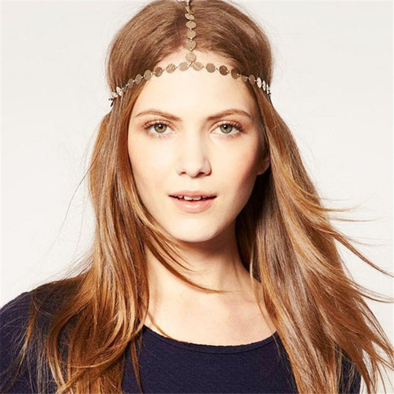 snowshine YLW  Women Head Band Headband Hair Chain Vintage Gold Tone Party Headpiece freeshipping