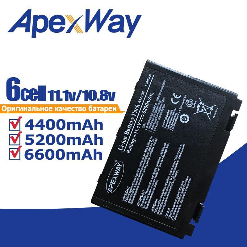 Bateria do portátil de apexway 11.1 v para asus a32-f82 a32-f52 a32 f82 f52 k50ij k50 k51 k50ab k40in k50id k50ij k40 k50in k60 k61 k70