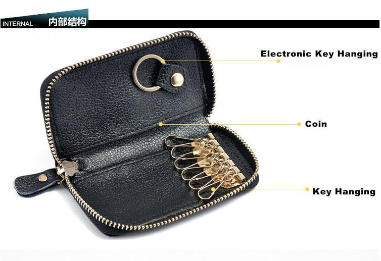 couro tampa chave bolsa handy Comprimento do Item : 25.381cm