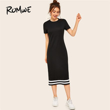 ROMWE Contrast Striped Hem T Shirt Dress Women Summer Sporty Short Sleeve Casual Dress Ladies Minimalist Long Midi Dresses
