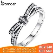 88915f0710d6 BAMOER de plata esterlina 925 caliente espumosos arco nudo apilable anillo  Micro pavimentar CZ para mujer Día de San Valentín re.