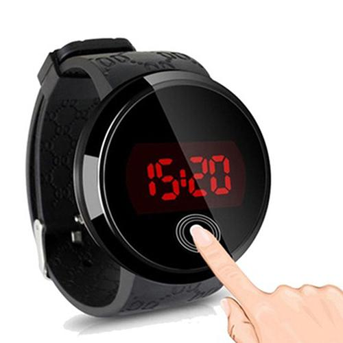 2018 Creative Men Fashion Waterproof Digital Watch Electronics LED Touch Screen Day Date Round Silicone Electronic Wrist Watch