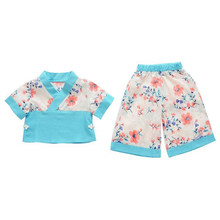Toddler Costume Clothes Kid Dress Short-Sleeved Set Tee+Pants Trousers Suit Summer New Chinese Style Girl Baby Flower 2PC(China)