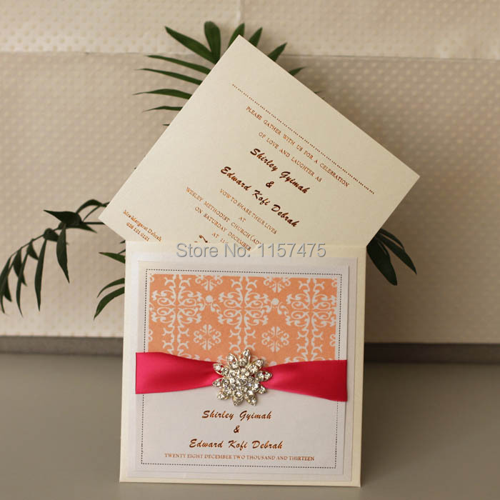 Top HI6005 Customized Beige Wedding Invitation Envelope with Peach  WM34