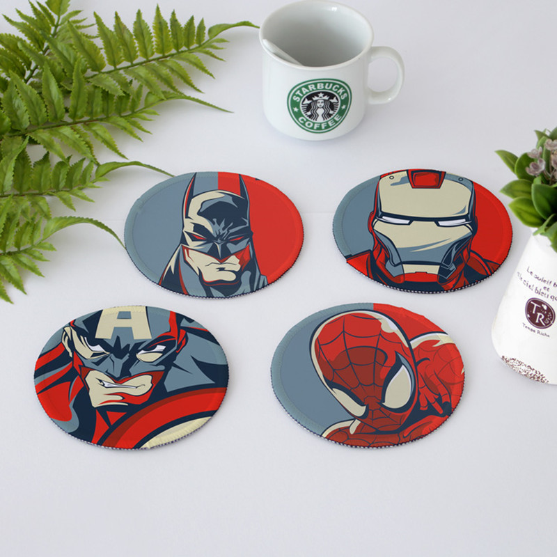 4Pcs/Set The Avengers Captain America Batman Creative Cup Mat Iron Man Non slip Mat Action Figure Collection Model Toy M657