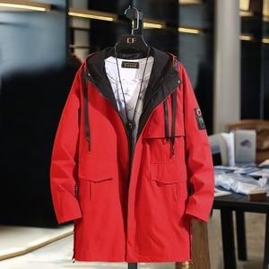 Image 5 - B חדש אביב מעילי Mens הסוואה ארוך מעיל רוח מעילי הלבשה עליונה מזדמן רופף ברדס מעיל בתוספת גודל 10XL