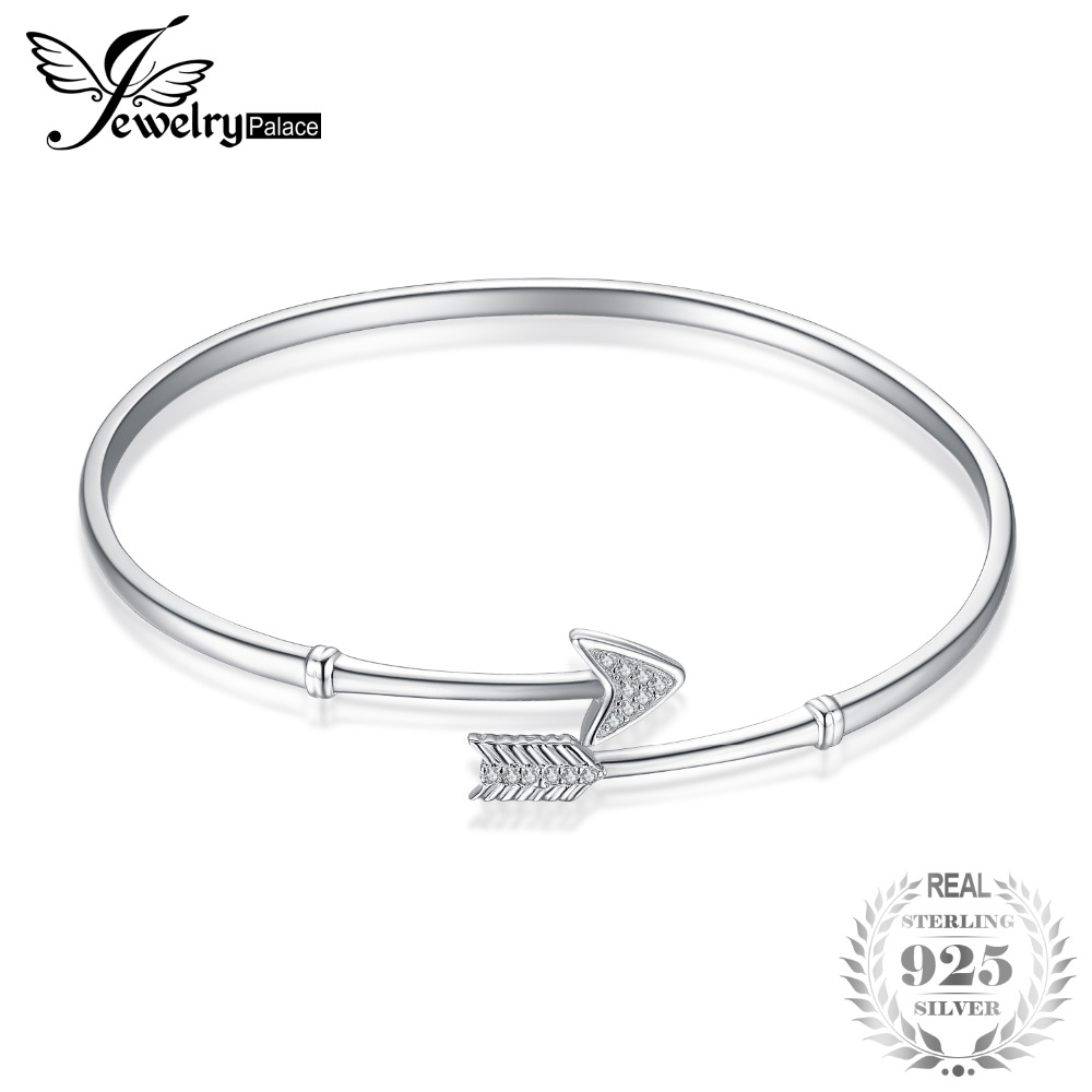 JewelryPalace 925 Sterling Silver Cupid's Arrow Cubic Zirconia Adjustable Cuff Bracelet Fashion Jewelry Gift For Woman&Girls New все цены
