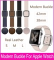 2015 New 4 Colors Modern Buckle Band For Apple Watch 38mm 42mm Made By Smooth Granada Leather With Two Pieces Magnetic Closure