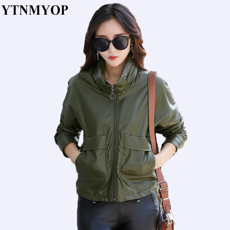 YTNMYOP 2019 New Slim Army Green   Leather   Coat Women Plus Size Casual Loose   Leather   Jacket Outerwear Autumn   Leather   Clothing Lady