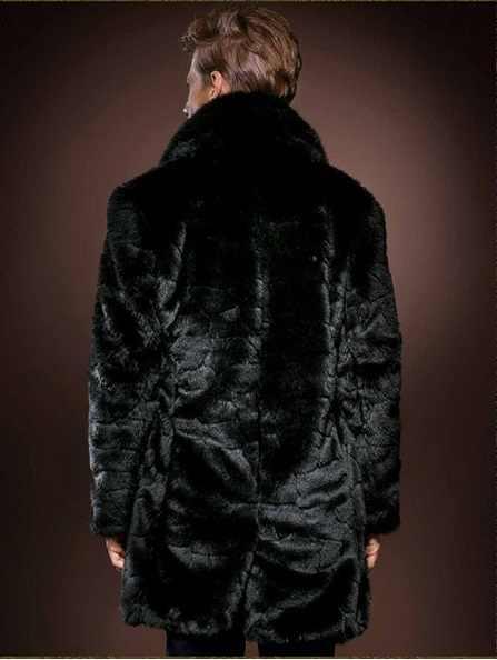 2019 зимняя элегантная мужская куртка из искусственного шубы из меха длинная стильная ветровка Бизнес Тонкий Плюс Размер норковый мех Мужское пальто X821