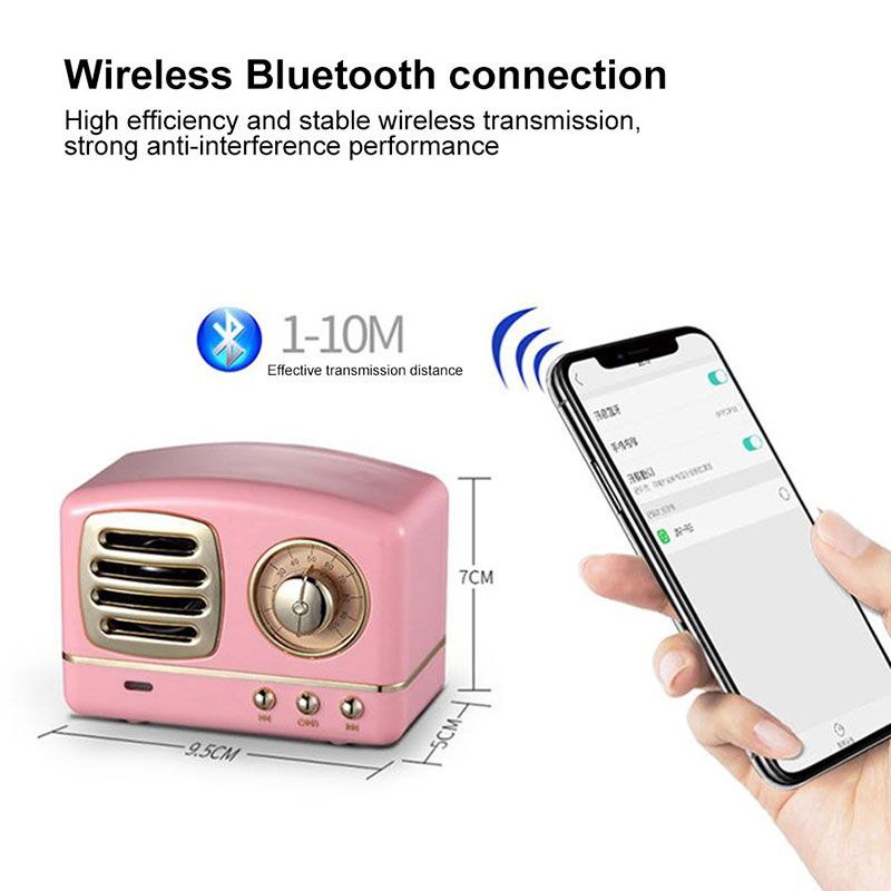 Retro Hifi Stereo Bluetooth V4.1 Speaker Portable Wireless Speaker With Fm Radio Built In Mic And Aux Input Support Tf Card