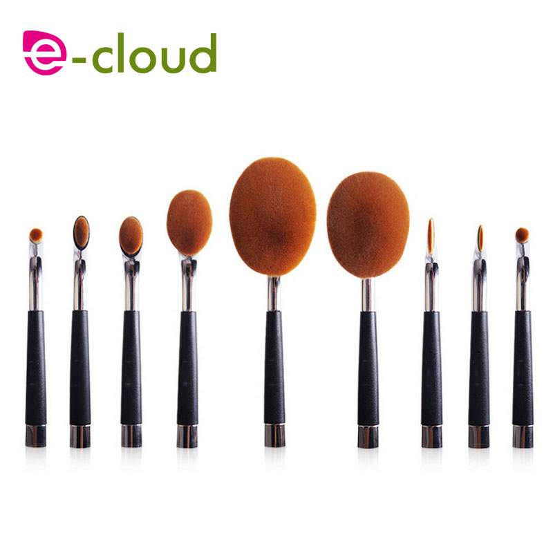 ФОТО high-grade  9pcs silver golf shape makeup brush exquisite gift boxes Black Plastic Handle non-slip not easy to fade Powder Blush