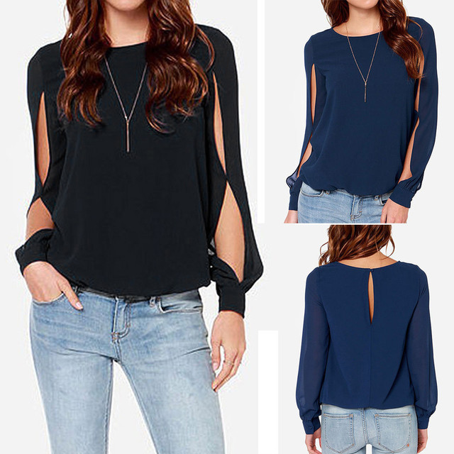 74cc2cabfae3ce 2018 Womens O-Neck Long Sleeve Back Hollow Out Tops frock T-shirt Autumn  winter Fashion T-shirts Solid T-shirt