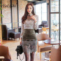 2 Piece Set Women Suit Spring Office Gray Lace Blouse Shirt Tops and ArmyGreen Pencil Mini Skirts Crop Top and Skirt Vestidos