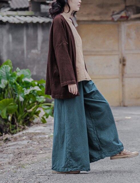 7cba2e7e46b3 Lin Coton taille Élastique Femmes jambe Large Pantalon Lâche Casual  Nouveauté conception Automne Pantalon Solide Capris